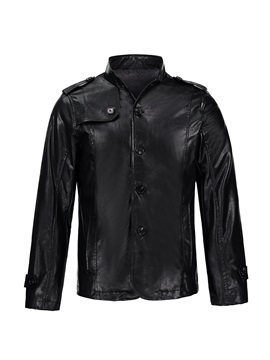 Tidebuy Stand Collar Solid Color Leather Mens Winter Coat