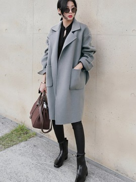 Long Sleeve Lapel Loose Plain Women Trench Coat