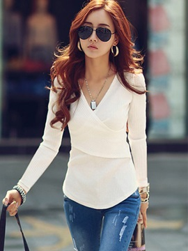 Long Sleeve Regular Plain Slim Blouse
