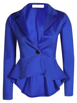 Long Sleeve Lapel Plain Slim Womens Blazer
