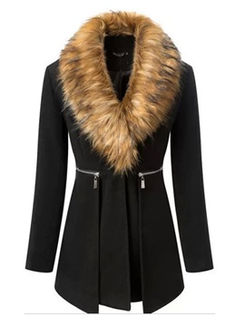Long Sleeve Faux Fur Winter Overcoat