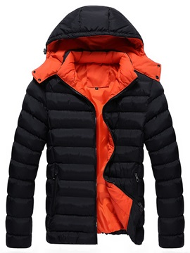 Tidebuy Hooded Color Block Slim Mens Winter Jacket