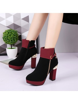 Faux Suede Buckle Rhinestone Womens Winter Boots