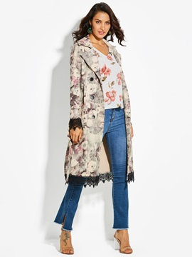 Notched Lapel Floral Double Breasted Womens Overcoat