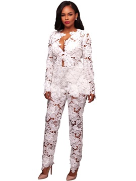 Lace Jacket And Pants Womens Suit