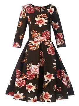 Floral Print 3 4 Sleeve Womens Skater Dress