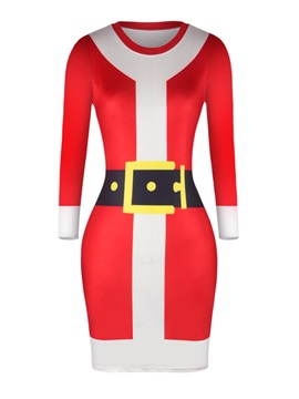 Santa Claus Cosplay Christmas Party Womens Bodycon Dress