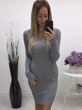 Scoop Long Sleeves Bodycon Womens Dress