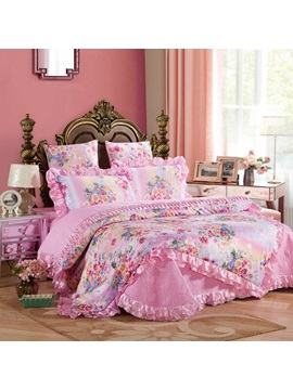 Wannaus Pink Peonies Printed Royal Style 6 Piece Cotton Sateen Bedding Sets Duvet Cover