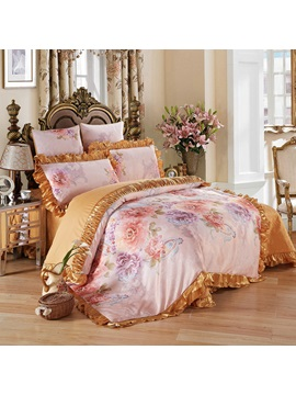Wannaus Peonies Printed And Golden Edge 6 Piece Cotton Sateen Bedding Sets Duvet Cover