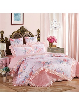 Wannaus Pastel Pink Flowers Blossom 6 Piece Cotton Sateen Bedding Sets Duvet Cover