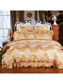 Wannaus Golden Flowers Printed Royal Style 6 Piece Cotton Sateen Bedding Sets Duvet Cover