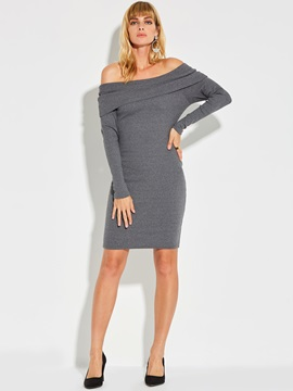 Slash Neck Long Sleeve Plain Womens Sweater Dress