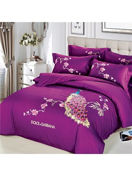 Wannaus Embroidery Peacock And Flowers Luxury Purple 4 Piece Cotton Sateen Bedding Sets Duvet Cover