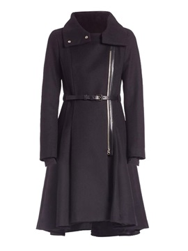 Long A Line Belt Lapel Womens Overcoat