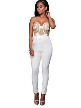 Skinny Backless Bead Womens Jumpsuit