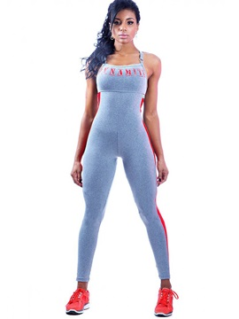 Skinny Suspender Contrast Color Womens Sport Jumpsuit