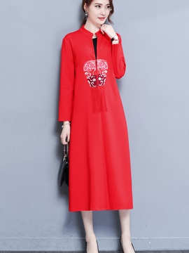 Long Floral Stand Collar Straight Womens Trench Coat