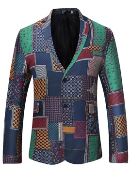 Tidebuy Lapel Print Color Block Fit Mens Blazer