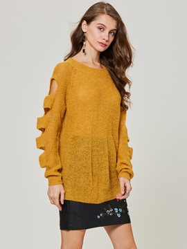 Round Neck Hollow Plain Womens Sweater