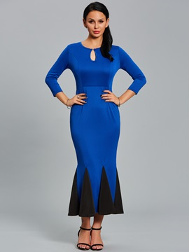 Color Block Mermaid Hollow Womens Bodycon Maxi Dress