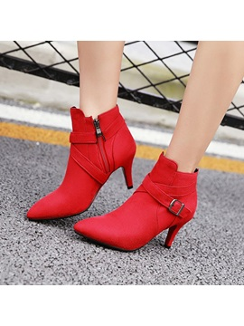 Faux Suede Pointed Toe Side Womens Booties