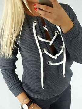 Lace Up Neck Long Sleeves Womens Hoodie