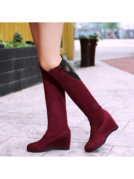 Faux Suede Patchwork Hidden Heel Lace Womens Boots