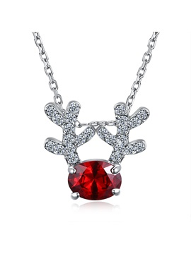 Christmas Link Chain Red Zircon Elk Antlers Necklace