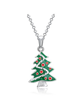 Christmas Green Tree Overgild Bronze Pendant Necklace