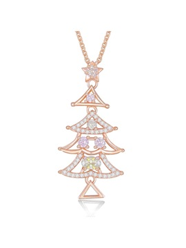 Christmas Zircon Inlaid Colorful Bronze Tree Necklace
