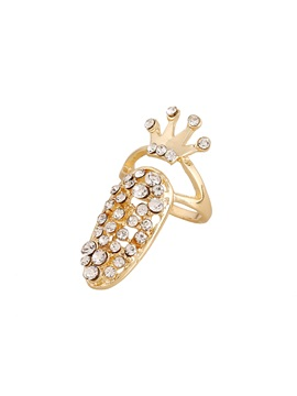 Crown Design Rhinestone Alloy Nail Ring