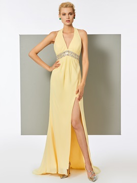 Popular Halter A Line Split Front Backless Evening Dress