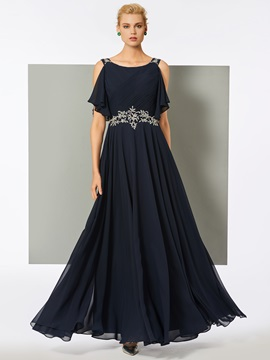 A Line Straps Appliques Long Evening Dress