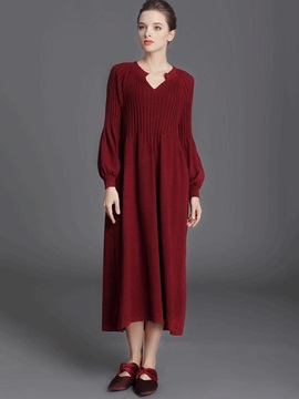 Plain Lantern Sleeve Womens Sweater Maxi Dress