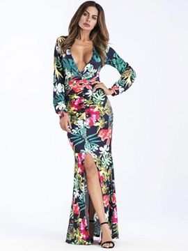 Sexy V Neck Floral Print Long Sleeve Split Womens Dress