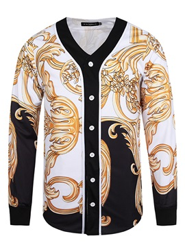 Tidebuy V Neck Vintage Long Sleeve Mens Coat