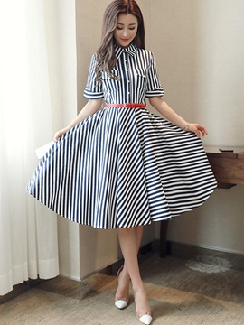 Polo Neck Single Breasted Stripe Womens Skater Dress