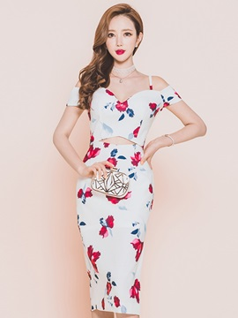 Floral Print Spaghetti Strap Hollow Womens Bodycon Dress
