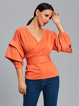 Lantern Sleeve Plain Bowknot Slim Blouse