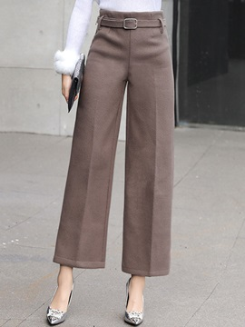 High Waist Ankle Length Wide Leg Womens Pants