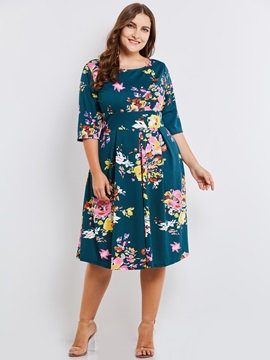 Floral Print Half Sleeve Plus Size Womens Skater Dress