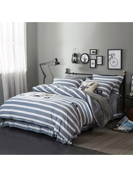 Wannaus White And Grey Stripes With Sharks Printed Soft 4 Piece Bedding Sets Duvet Cover