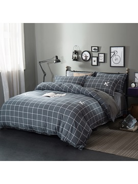 Wannaus Grey Plaid Pattern Modern Style Soft 4 Piece Bedding Sets Duvet Cover