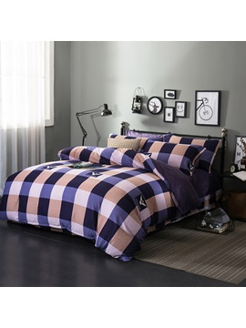 Wannaus Purple And Khaki Plaid Pattern Modern Style Soft 4 Piece Bedding Sets Duvet Cover