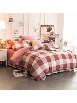 Wannaus Peachy Pink Plaid Pattern Modern Style Soft 4 Piece Bedding Sets Duvet Cover