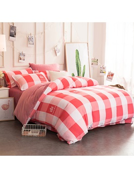 Wannaus Watermelon Red Plaid And Crown Pattern Super Soft 4 Piece Bedding Sets Duvet Cover