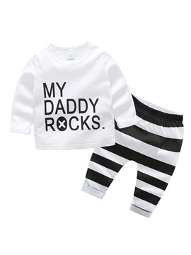 Letter Print Stripe Baby Boys 2 Pcs Outfit