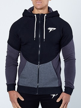 Tidebuy Hooded Patchwork Zipper Mens Hoodie