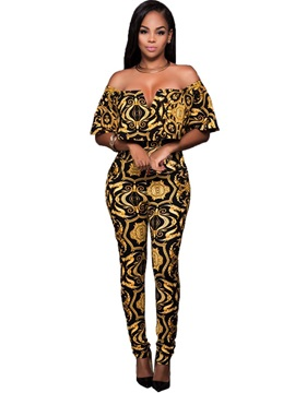Slim Off Shoulder Womens Jumpsuit